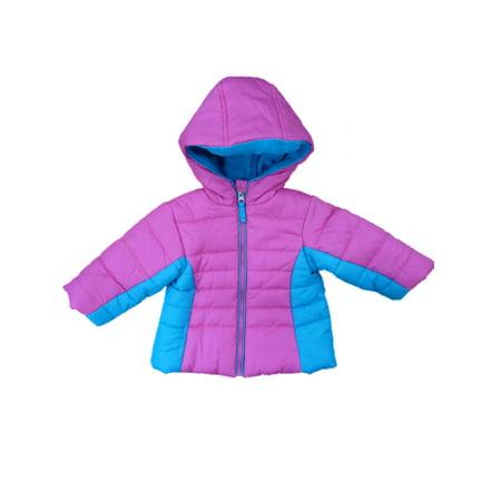 Pistachio Infant & Toddler Girls Pink & Blue Winter Ski Jacket Hooded Coat