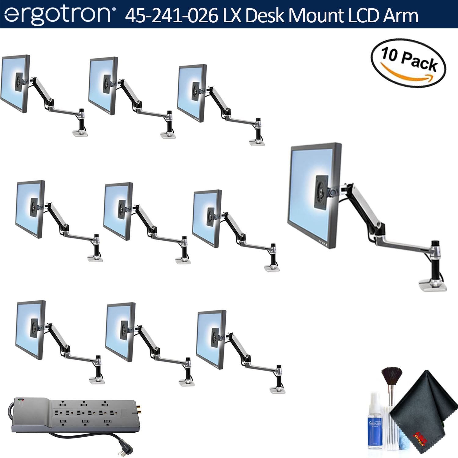 Ergotron LX Desk Mount LCD Arm   10 Pack With Essential Accessories And  Power Strip