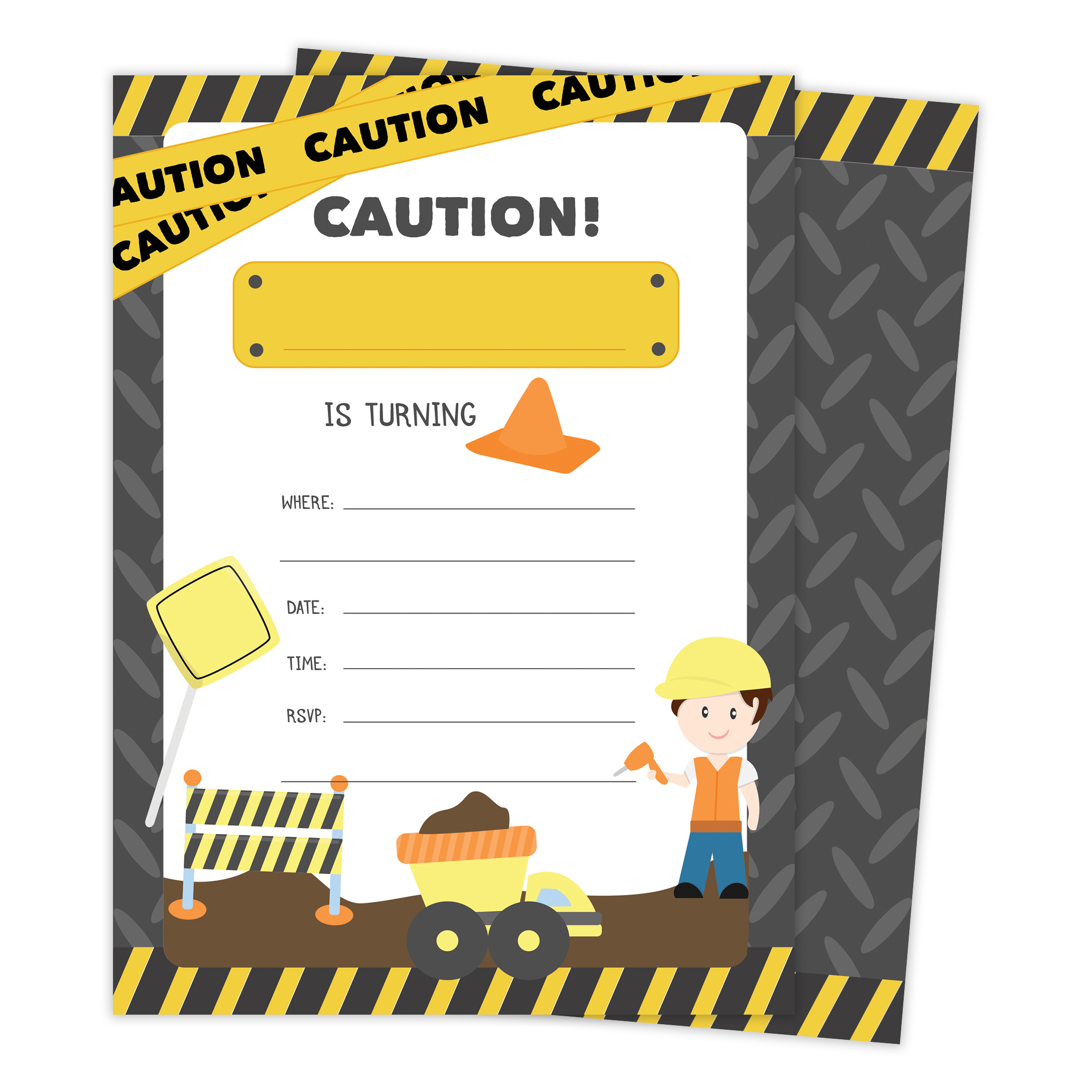 Construction Happy Birthday Invitations Invite Cards (25 Count) With Envelopes & Seal Stickers Boys Girls Kids Party