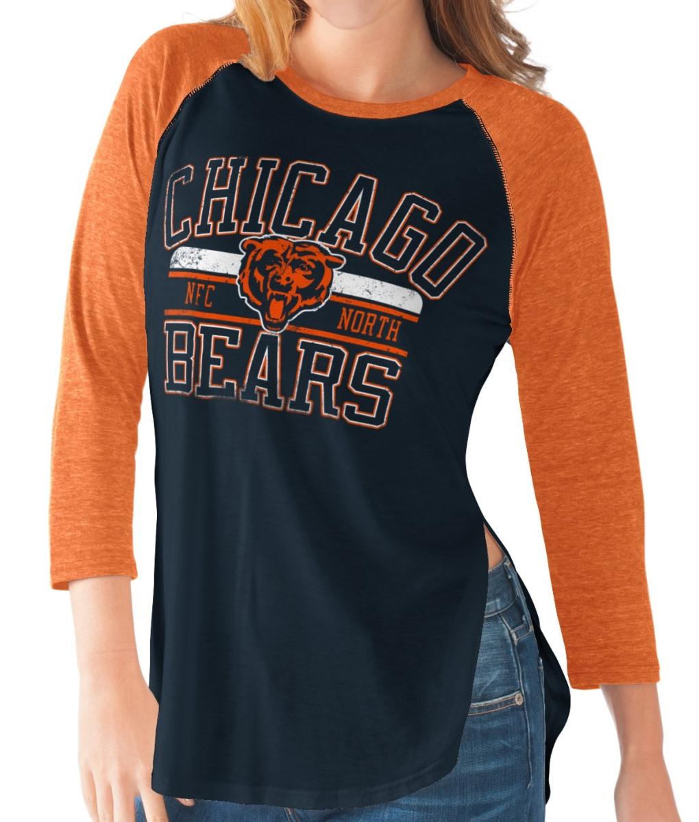 "Chicago Bears Women's G-III NFL ""Hang Time"" Dual blend 3 4 Sleeve T-shirt by G-III Sports"