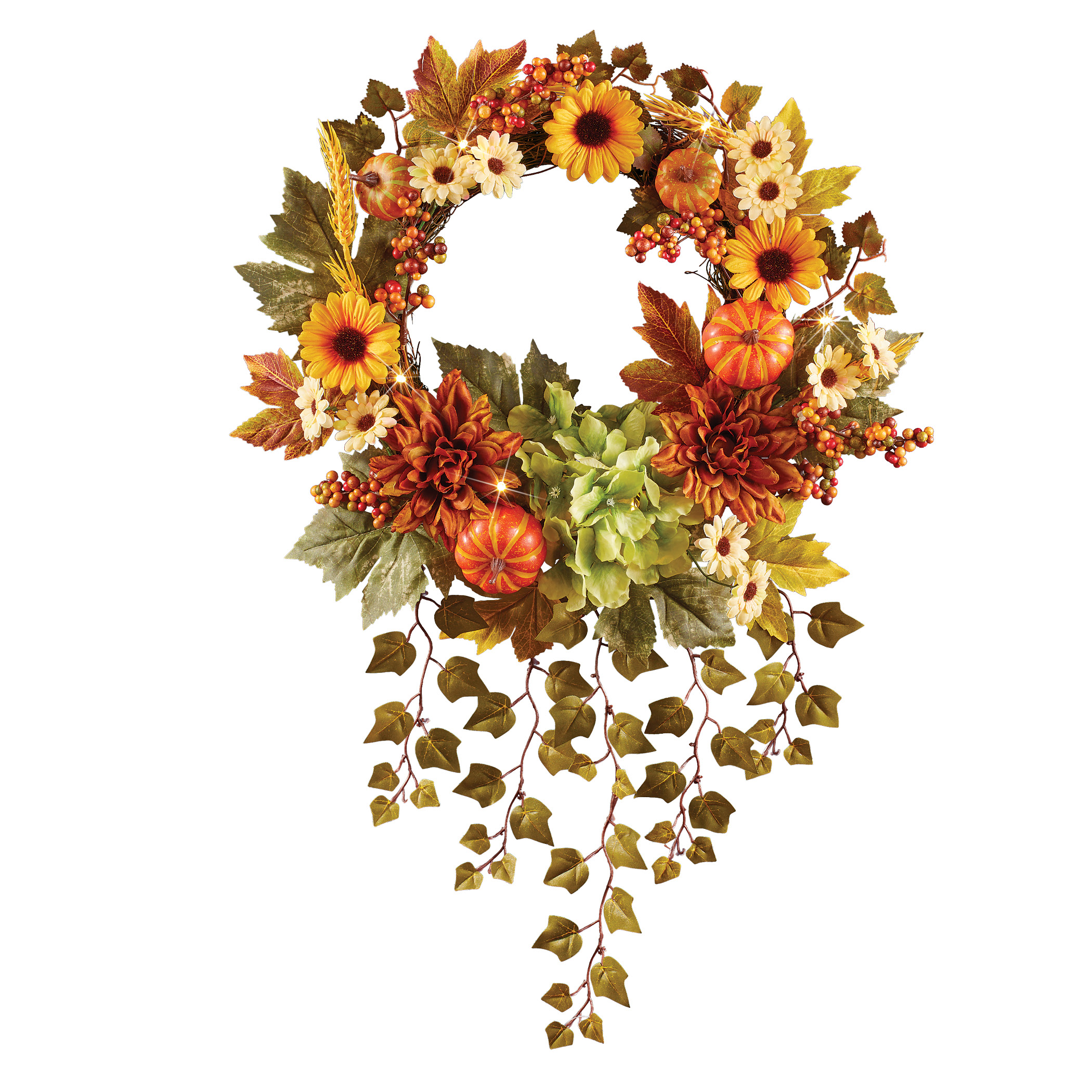 Led Lighted Autumn Sunflower Wreath With Hanging Ivy Has A Colorful Assortment Of Fall Flowers And Hook On Back For Easy Hanging Walmart Com Walmart Com
