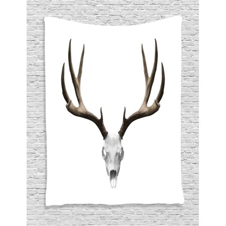 Antlers Decor Wall Hanging Tapestry, A Deer Skull Skeleton Head Bone Halloween Weathered Hunter Collection, Bedroom Living Room Dorm Accessories, Gift Ideas, By Ambesonne - Halloween Bedroom Decorating Ideas