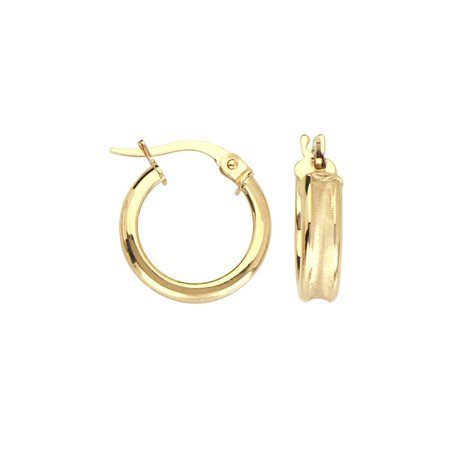 14k Gold Satin Finish (14k Yellow Gold Hoop Earrings Concave Tube Satin and Polished Finish)