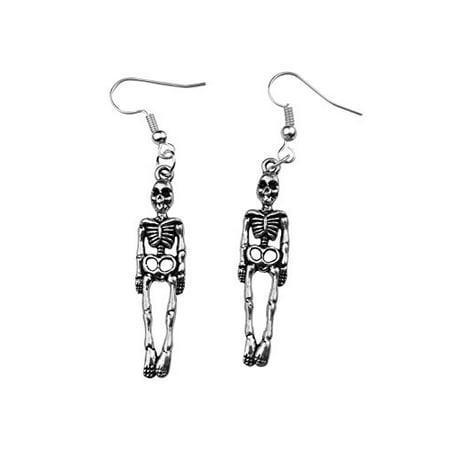 Art Attack Silvertone Skeleton Skull & Bones Halloween Holloween Costume Goth Dangle Earrings