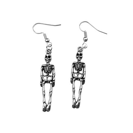 Art Attack Silvertone Skeleton Skull & Bones Halloween Holloween Costume Goth Dangle Earrings](Halloween Art Attack Crafts)