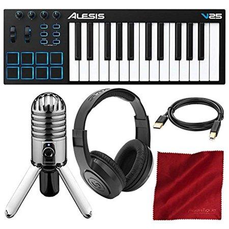 Alesis V25 25-Key USB MIDI Keyboard Controller & Drum Pad with Samson Meteor