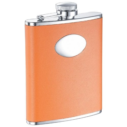 Visol Products Leather Stainless Steel Hip Flask
