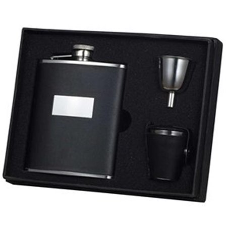 Ontario Black Leather 6 oz Deluxe Flask Gift Set with 3 Shot Cups - image 1 de 1