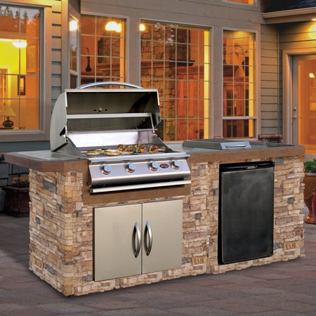 Cal Flame 7 ft. Natural Stone Grill Island With Tile Top And 4 Burner Gas Grill