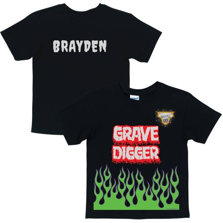 Personalized Monster Jam Grave Digger Toddler Boys' T-Shirt, Black