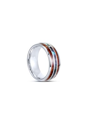 Tungsten Hawaii Pacific Wedding Engagement Band Ring 8mm Men Comfort Fit Exotic Koa Wood Abalone - size 10