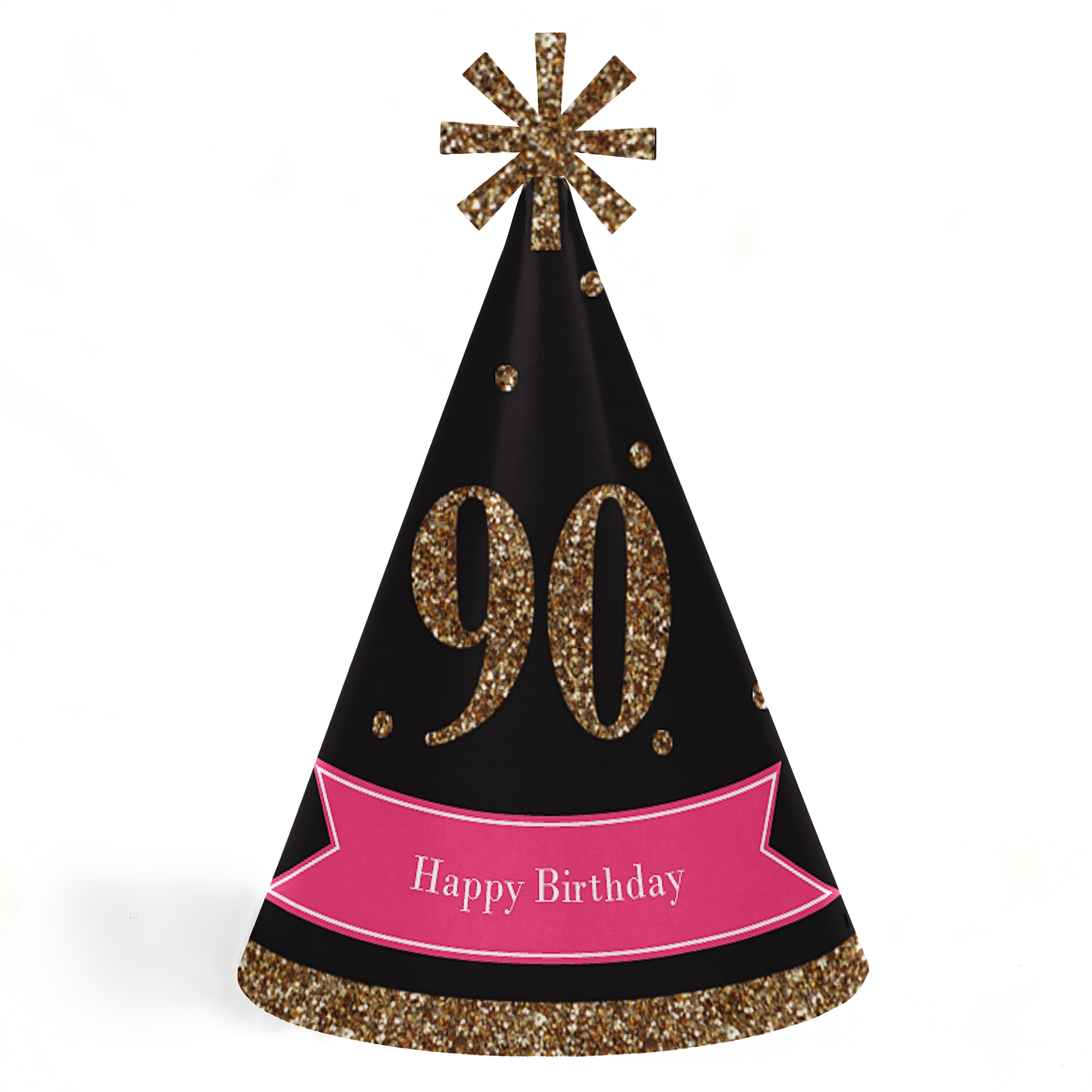 Chic 90th Birthday - Pink, Black and Gold - Cone Happy Birthday Party Hats for Kids and Adults -Set of 8 (Standard Size)