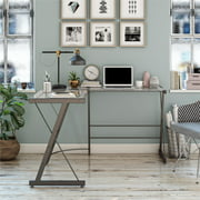 Ameriwood Home Glass L-Shaped Computer Desk, Gray
