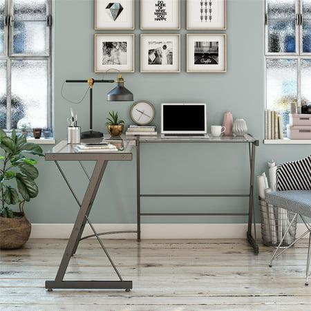 Portland Glass L Shaped Computer Desk Gray - Room & Joy