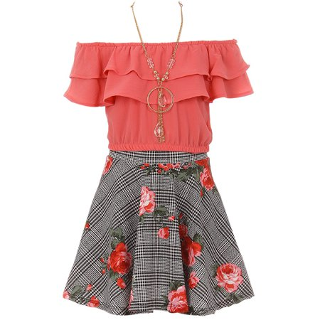 Little Girl 3 Pieces Set Summer off Shoulder Crop Top T-Shirt Skirt Outfit USA (21JK30S) Coral 4 (Usa Outfits)