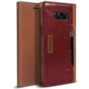 Obliq K3 Wallet Galaxy S8 Plus Case with Three Card Slot and Foldable Leather Flip Cover for Samsung Galaxy S8 Plus (2017) (Brown / Burgundy)
