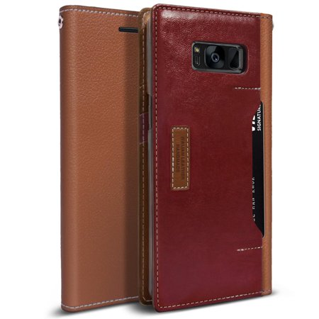 Shaft Burgundy Tube Case (Obliq K3 Wallet Galaxy S8 Plus Case with Three Card Slot and Foldable Leather Flip Cover for Samsung Galaxy S8 Plus (2017) (Brown /)