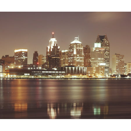 LAMINATED POSTER Houses Detroit Skyscrapers Night City Cityscape Poster Print 24 x 36](Detroit Night Before Halloween)