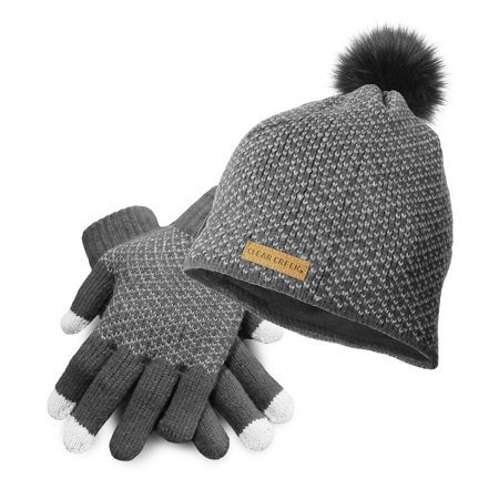 874540ee62a85 Clear Creek Knit Beanie Hat with Fur Pom Pom and Touch Screen Gloves Gift  Set (Gray) - Walmart.com