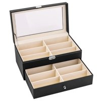 Zimtown 12-Slot Eyeglass Sunglass Glasses Organizer Collector - Faux Leather Storage Case Box