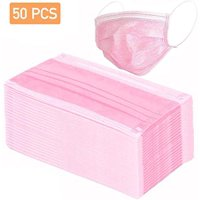 50 Disposable Pink Face Masks , 3-ply Breathable Masks, Elastic Ear Loop Filter Mask