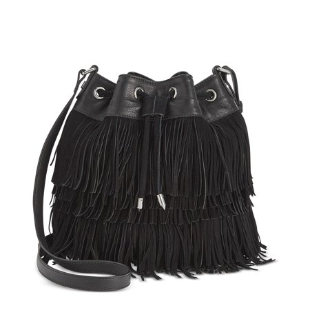 Sam Edelman Fifi Womens Fringe Mini Drawstring Bucket Bag Black Solid