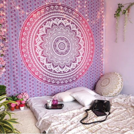 Purple Indian Wall Hanging Tapestry Boho Mandala Hippie Tapestries College Dorm Bohemian Tapestry Wall Hangings Gold Throw Blanket Outdoor Picnic Online