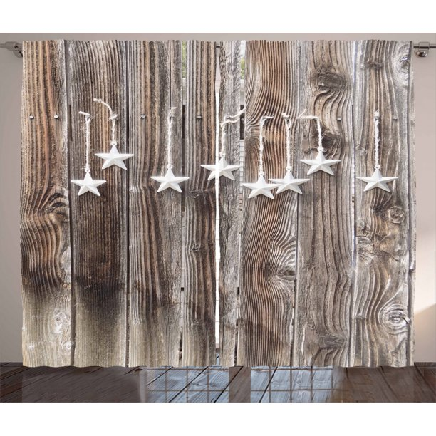 Wooden Rustic Fence Cabin Design Print, Primitive Curtains For Living Room