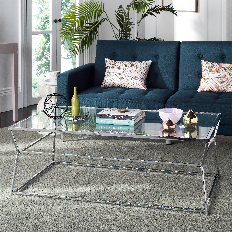 Safavieh Ellie Glass Coffee Table, Chrome