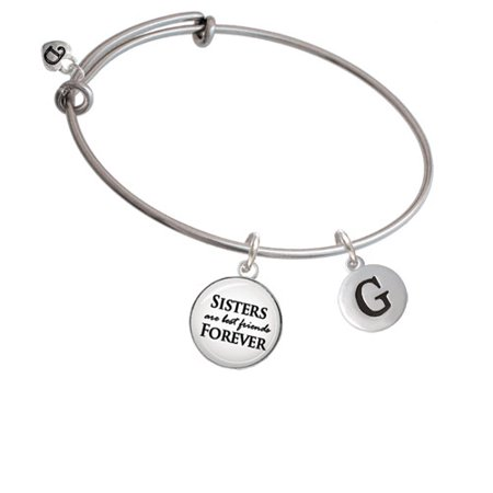 Capital Letter - G - Pebble Disc - Sisters are Best Friends Bangle