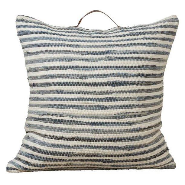 Saro Lifestyle 4873 Dn30sc 30 In Square Chindi Floor Pillow Cover With Striped Denim Design Walmart Com Walmart Com