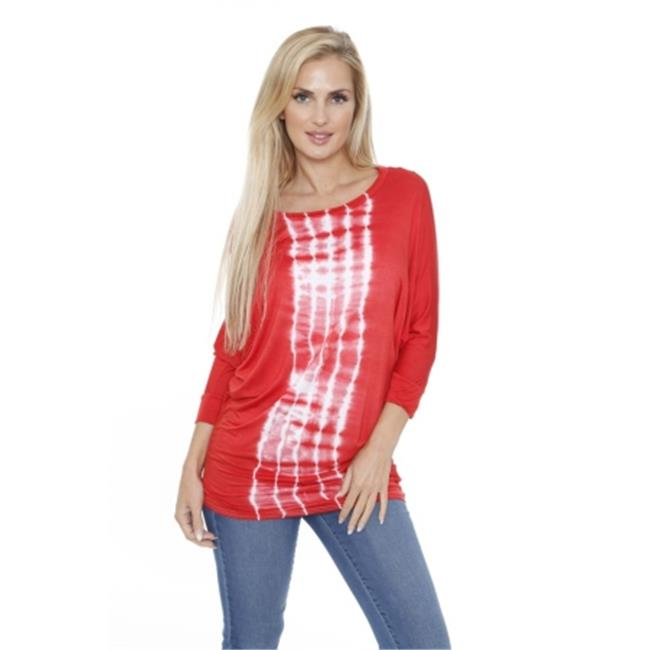 White Mark Universal 124L - Red-L Womens Banded Dolman Tie Dye Top, Large