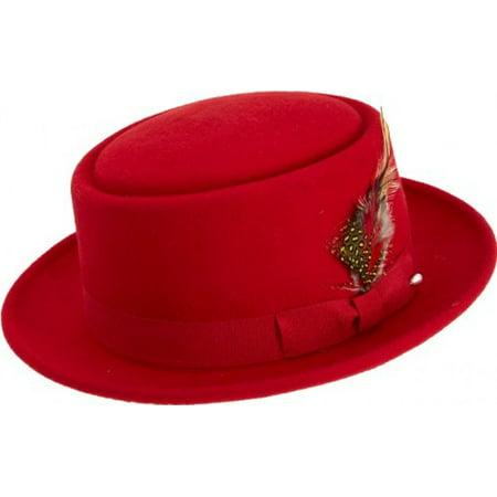 Montique Pork Pie Men's Felt Hat (Red Sequin Top Hat)