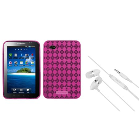 Insten Pink Argyle Candy Case Cover+White Stereo Headset For Samsung Galaxy Tab P1000
