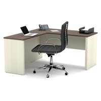 Prestige + L-shaped workstation in White Chocolate & Antigua