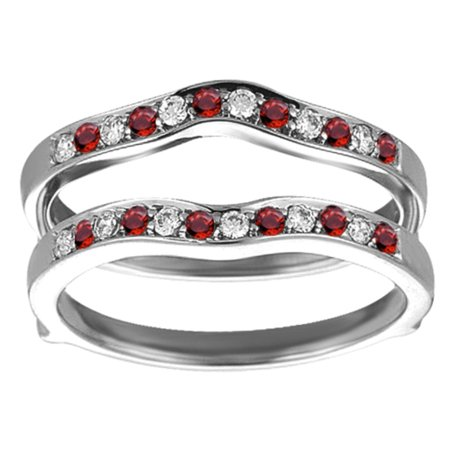 Genuine Ruby Mounted In Sterling Silver Contour Shape Channel Set Enhancer Ring Guard (0.14ctw) ()