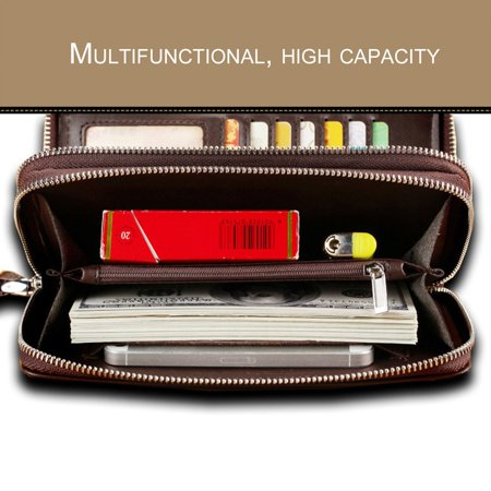 d9467b217254 Fashionable Men Clutch Bag Long Purse Leather Wallet Lichee Pattern ...