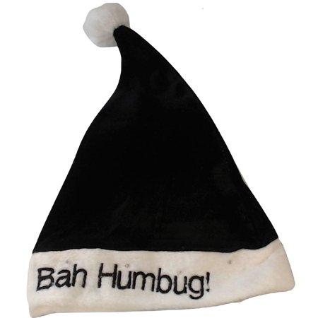 Black And White Santa Hat (Bah Humbug Light Up Led Flashing Black Santa Claus Hat Adult Christmas)