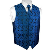 Italian Design, Men's Tuxedo Vest, Tie & Hankie Set - Royal Blue Paisley