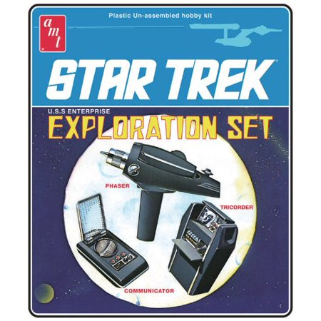 Retro 1/3 Star Trek Exploration Set 3 Model Set w/Phaser, Communicator, Tricorder, This is a plastic model kit. Assembly and painting is required. By AMT