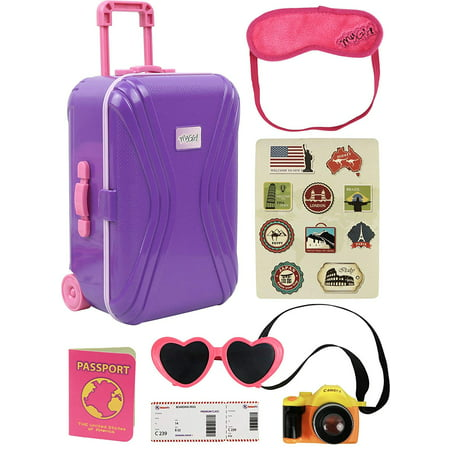 "Click N' Play 18"" Doll Travel Carry on Suitcase Luggage 7 Piece Set with Travel Gear Accessories, Perfect for 18 inch American Girl"