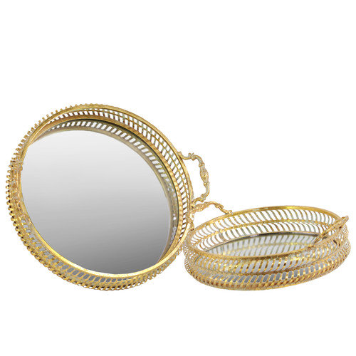 Urban Trends 2 Piece Round Tray with Mirror Surface and Handles Set