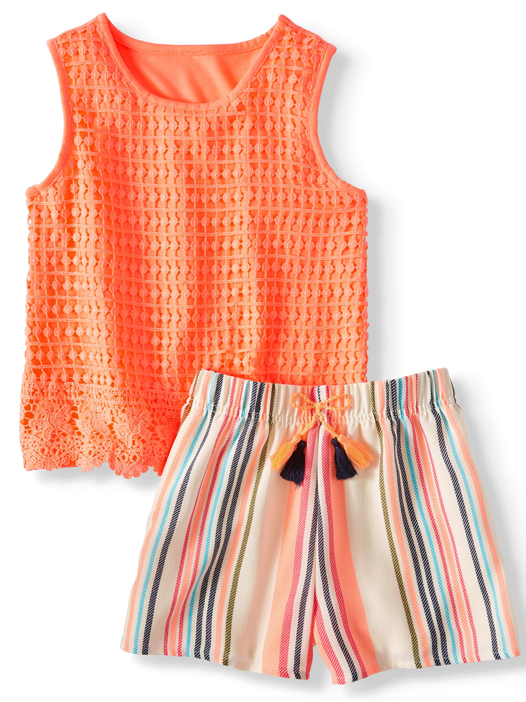 Girls' Crochet Tank Top and Tassel Short, 2-Piece Outfit Set