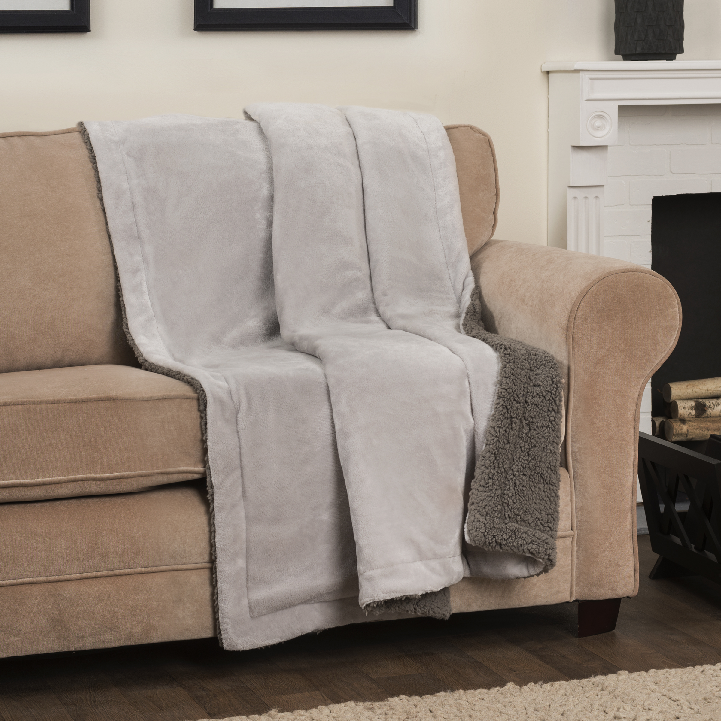 Arlee Self Warming Heating Throw Blanket - Reversible Sherpa Fleece for Bed or Couch or Chair or Travel Bennet Silver