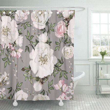 Pink Leaves - KSADK Abstract with Pink Flowers and Leaves On Gray Watercolor Floral Rose in Pastel Color Shower Curtain Bath Curtain 66x72 inch