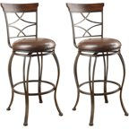 Acme Tavio Swivel Bar Chair Set Of 2 Saddle Walmart Com