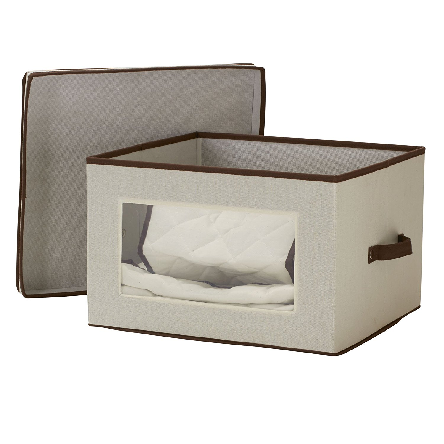 ... Piece China Storage With Quilted Pouches | Natural Canvas With Brown  Trim, DURABLE HARD SIDED Storage Box With Handles,.., By Household  Essentials