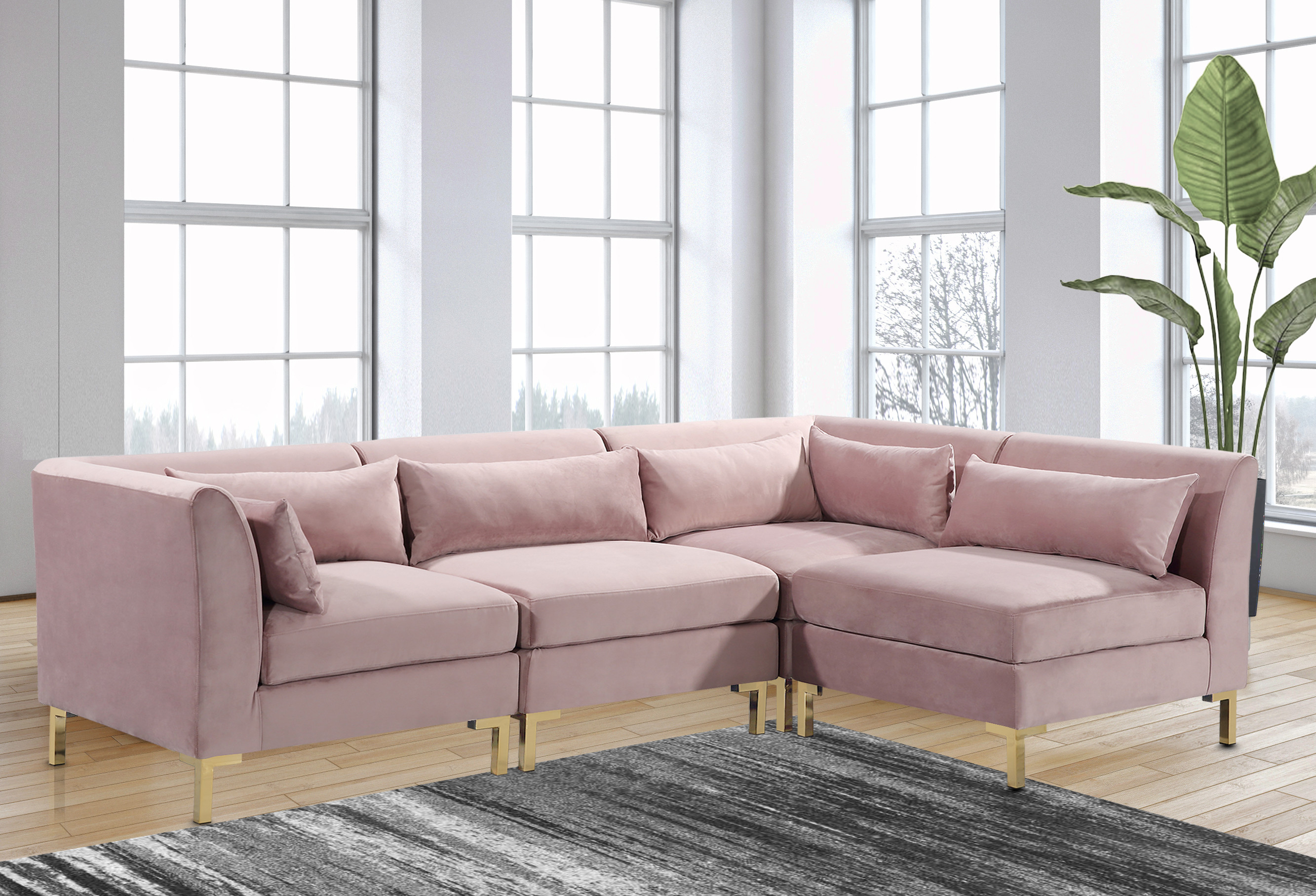 Chic Home Guison Modular Chaise Sectional Sofa With 6 Throw Pillows Walmart Com Walmart Com