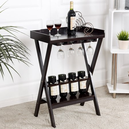 Gymax Wood Wine Rack Storage Display Shelves Wine Bottle Storage W