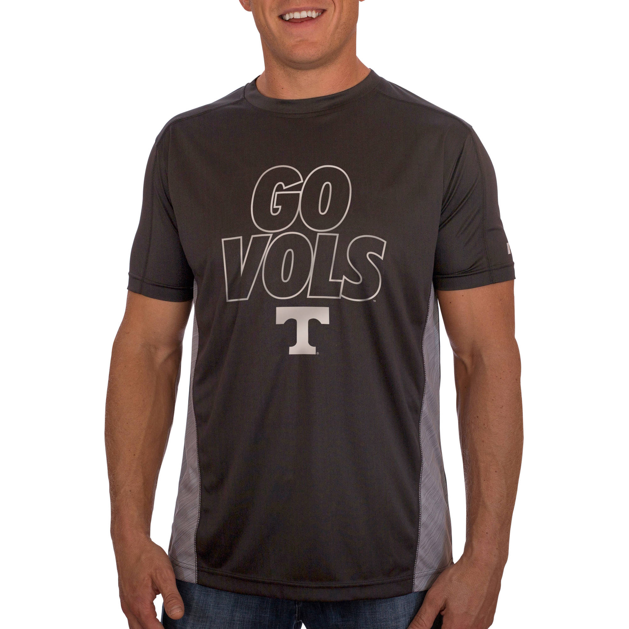 Russell NCAA Tennessee Volunteers Men's Athletic Fit Black / Storm Gray Impact Tee